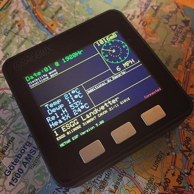 M5Stack decoding Metar weather data Code by G6EJD #m5stack #g6ejd #esp32 #esp8266 #arduino #electronics #hamradio #hamradiouk #sa6bwx #github #aviation #esgg #landvetterairport
